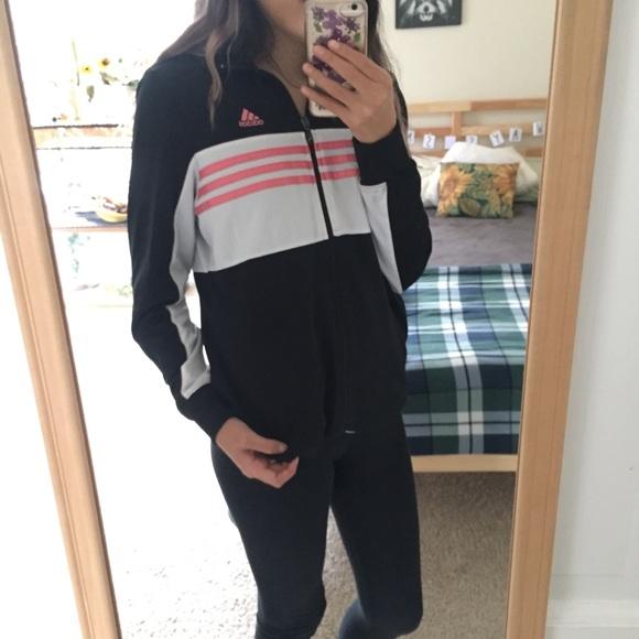 Vintage adidas sweater jacket black white and pink